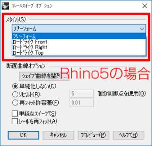 Rhinoceros5ではロードライク「Front」「Right」「Top」と、それぞれの作業平面に対して設定されていました