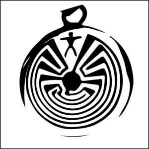 マン・イン・メイズ メイズは「迷路」の意味で、ホピ族に伝わる人生の教えを表した古い意匠。