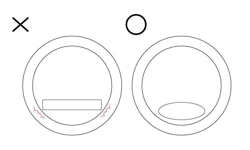 アールの内側を削るときは平ヤスリだと角が当たってしまって思うように削れないので、丸い形状(丸・半丸・腹丸・両甲丸・ハマグリ)を選ぶと綺麗に削れます。
