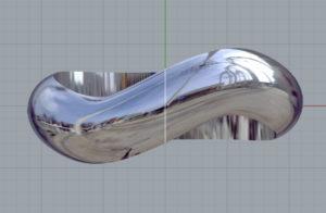うねりのあるリングを作ろうと思った時、単純にSweep 1 Railを使おうとすると、下の右画像のようにひねくれたものが出来上がってしまいます