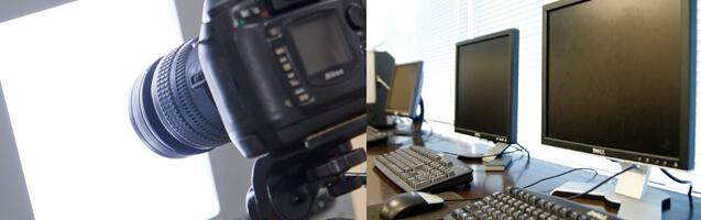 フォトスタジオ設備・WEB・写真加工まで学べる環境