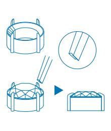 爪留め 石が乗る台座と爪からなる「石座」を作成し、爪を倒すようにして石を留めます。
