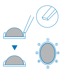 覆輪留め 主に半球状(カボション)の石を留める際に多く使用される留め方です。