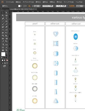 ジュエリーデザイナーコースには、一線で活躍するプロのジュエリーデザイナーが、イラストレーターを使ってデザイン画を描くときに使用するイラストレーター用のジュエリーデザインテンプレート集が付属しています。
